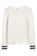 Cable-knit cotton jumper - White - Kids | H&M 2